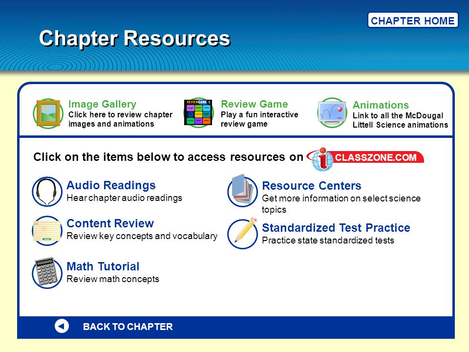 BACK TO CHAPTER Click on the items below to access resources on Standardized Test Practice Practice state standardized tests Math Tutorial Review math