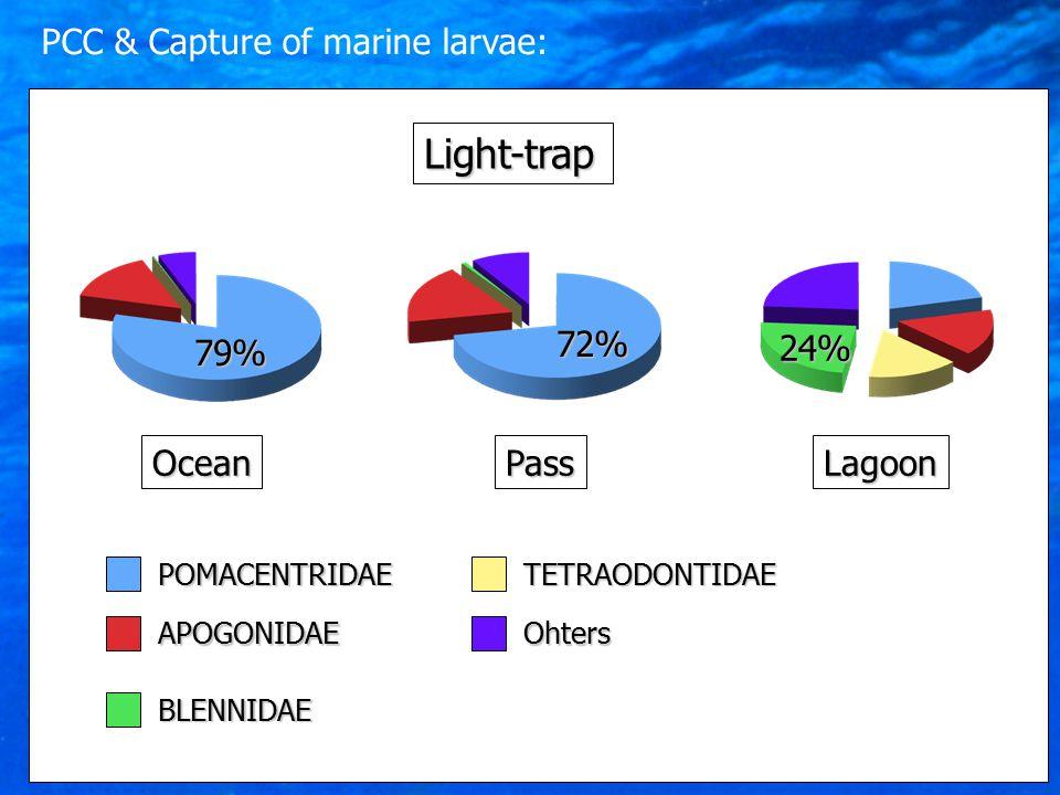 79% Ocean 72% PassLagoon 24% POMACENTRIDAEAPOGONIDAE BLENNIDAETETRAODONTIDAEOhters Light-trap