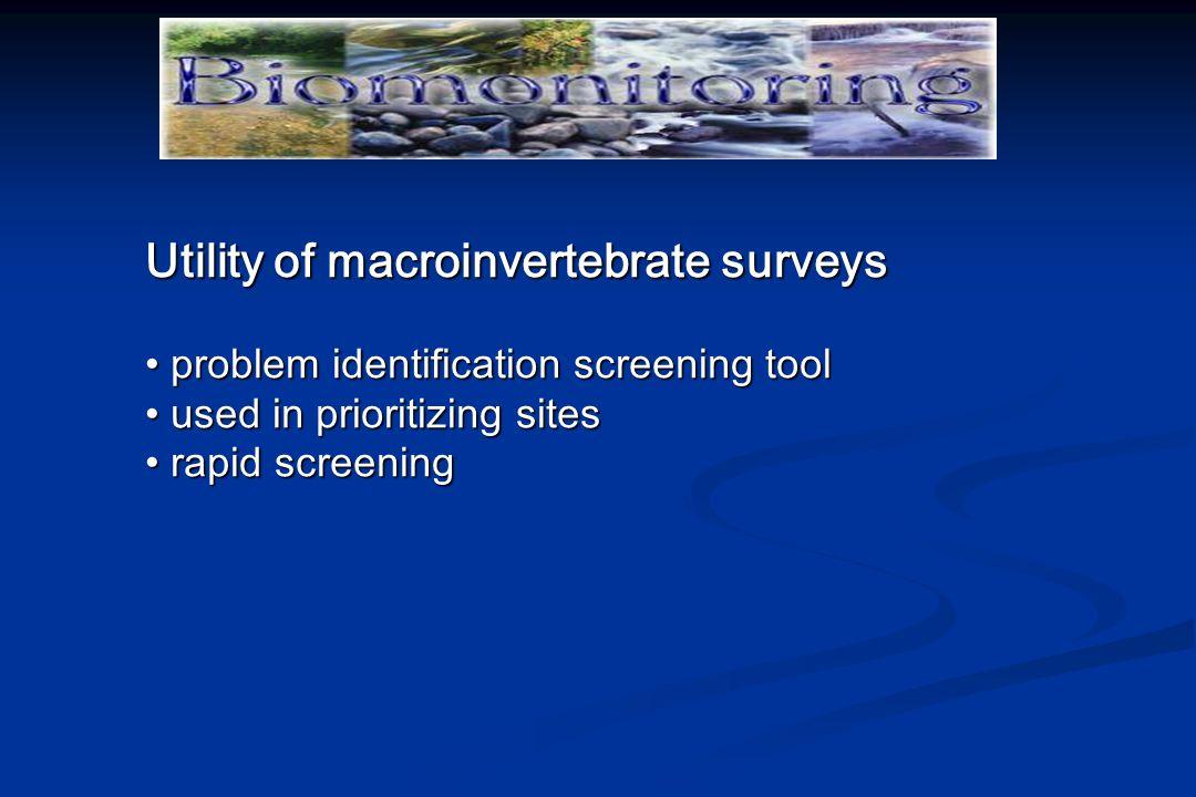 Utility of macroinvertebrate surveys problem identification screening tool problem identification screening tool used in prioritizing sites used in prioritizing sites rapid screening rapid screening