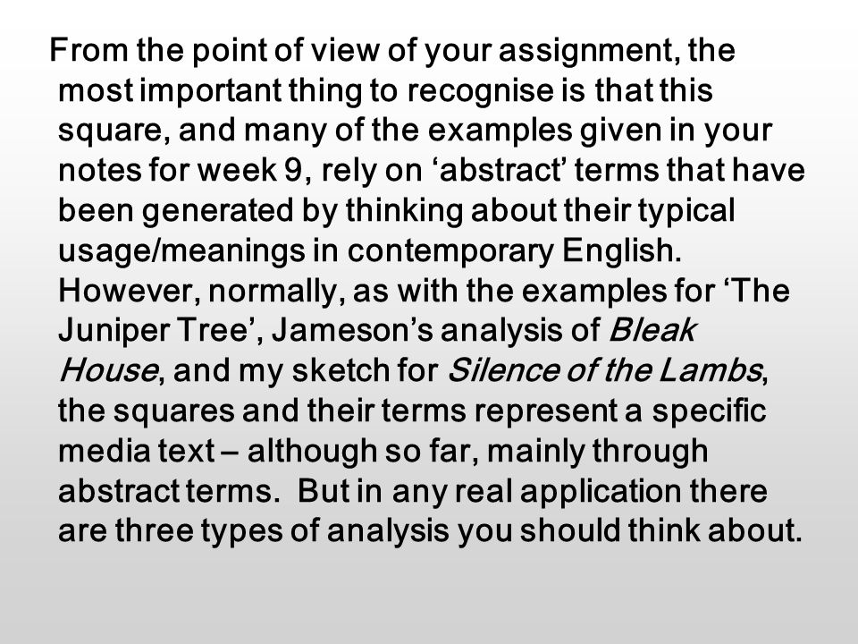 From the point of view of your assignment, the most important thing to recognise is that this square, and many of the examples given in your notes for week 9, rely on 'abstract' terms that have been generated by thinking about their typical usage/meanings in contemporary English.