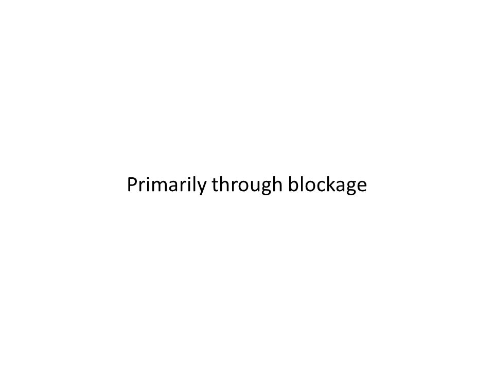 Primarily through blockage