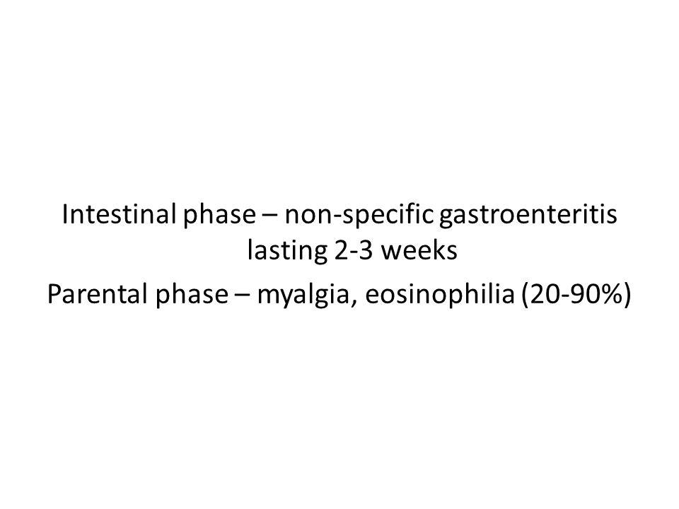 Intestinal phase – non-specific gastroenteritis lasting 2-3 weeks Parental phase – myalgia, eosinophilia (20-90%)