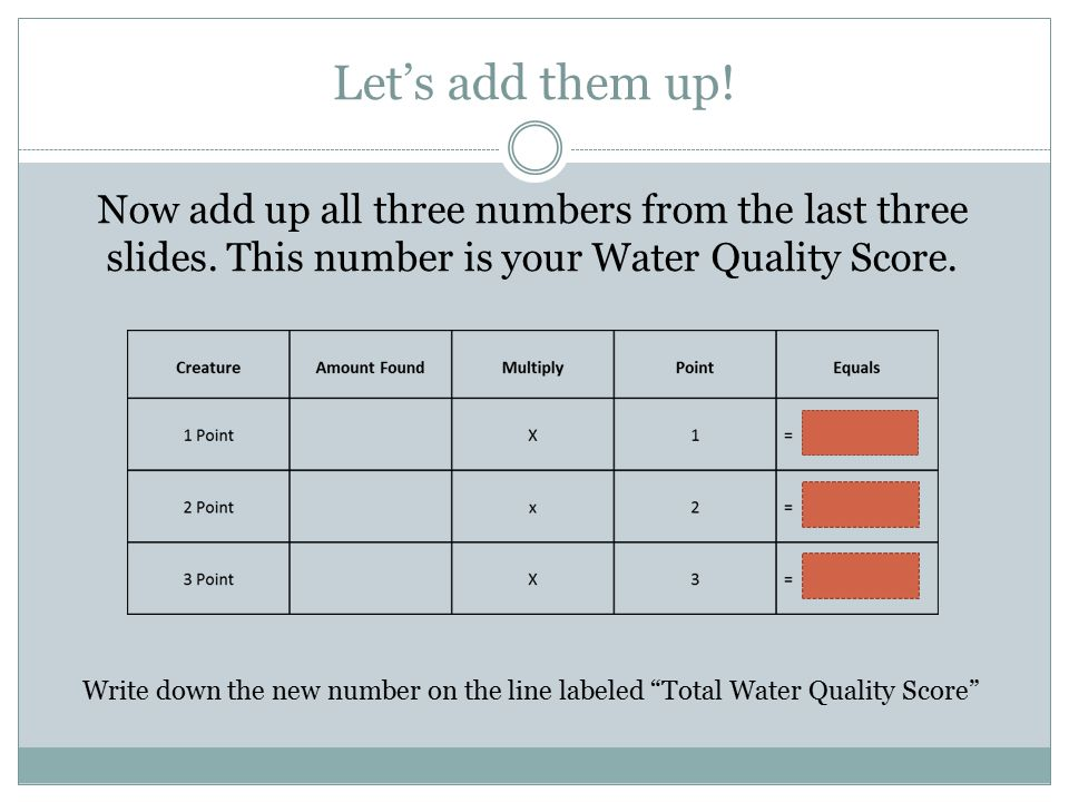 Let's add them up. Now add up all three numbers from the last three slides.