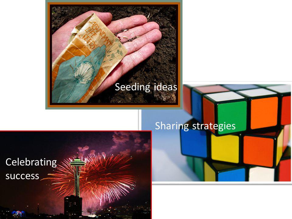 Celebrating success Sharing strategies Seeding ideas
