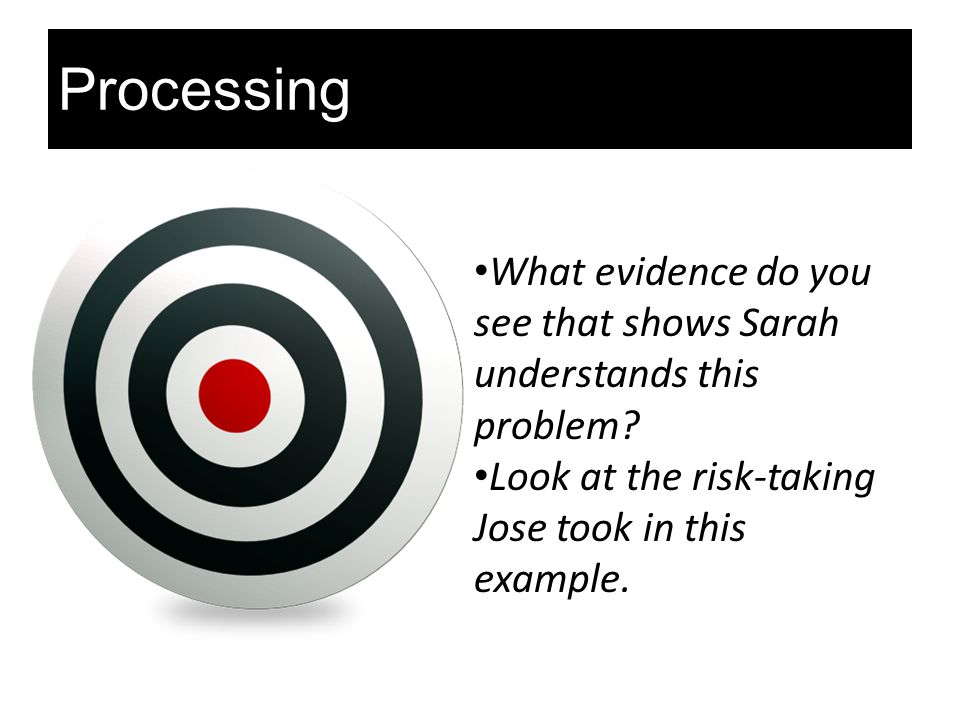 Processing What evidence do you see that shows Sarah understands this problem.