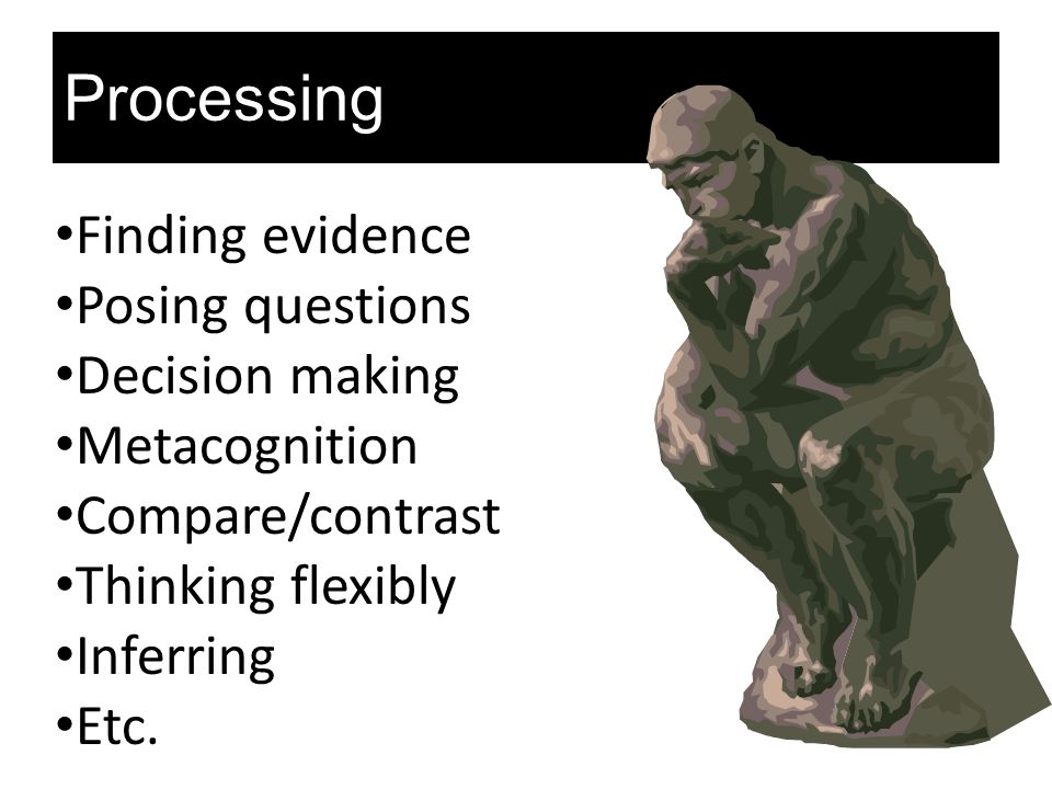 Processing Finding evidence Posing questions Decision making Metacognition Compare/contrast Thinking flexibly Inferring Etc.