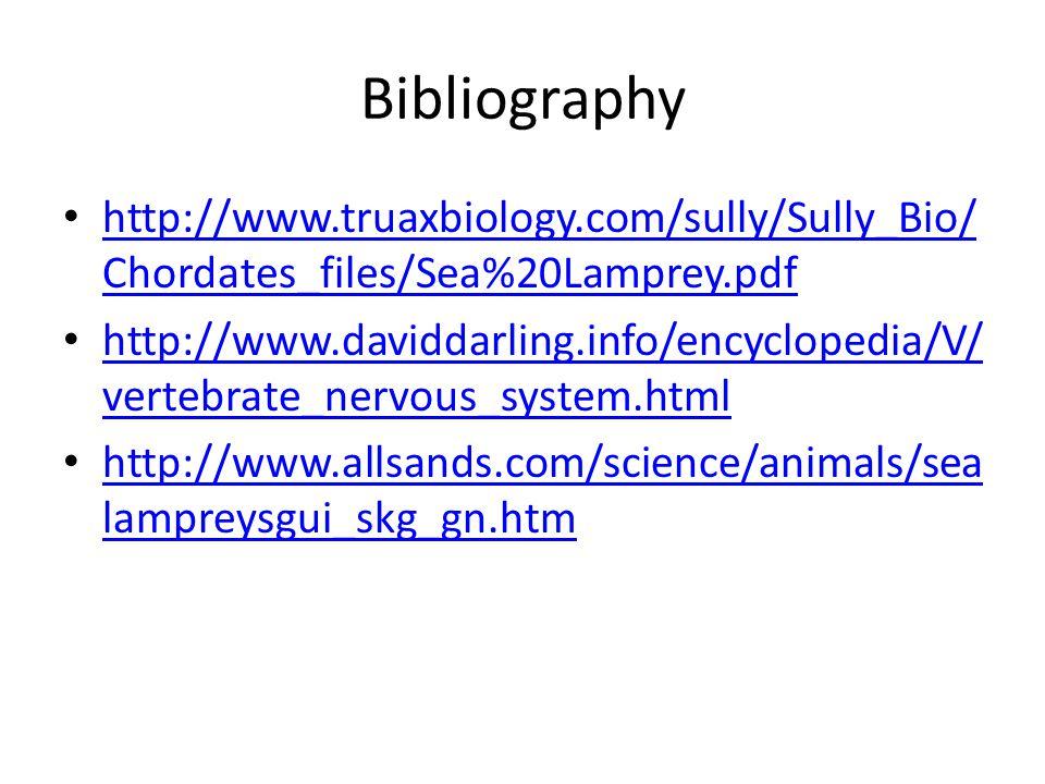 Bibliography http://www.truaxbiology.com/sully/Sully_Bio/ Chordates_files/Sea%20Lamprey.pdf http://www.truaxbiology.com/sully/Sully_Bio/ Chordates_fil