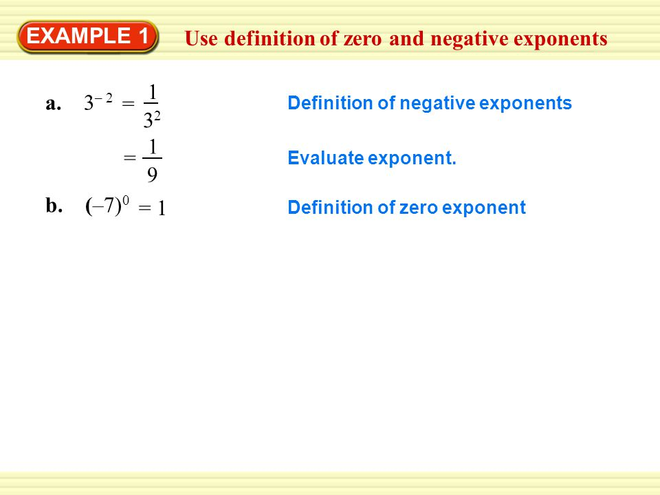 Use definition of zero and negative exponents EXAMPLE 1 a. 3 – 2 Definition of negative exponents 1 9 = Evaluate exponent. b. (–7) 0 Definition of zer