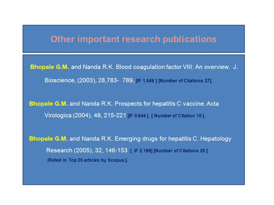 Other important research publications Bhopale G.M.