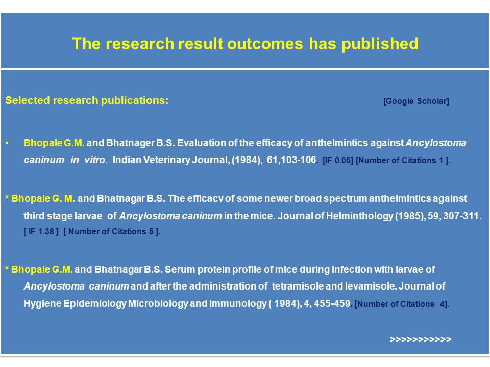 The research result outcomes has published Selected research publications: [Google Scholar] Bhopale G.M.