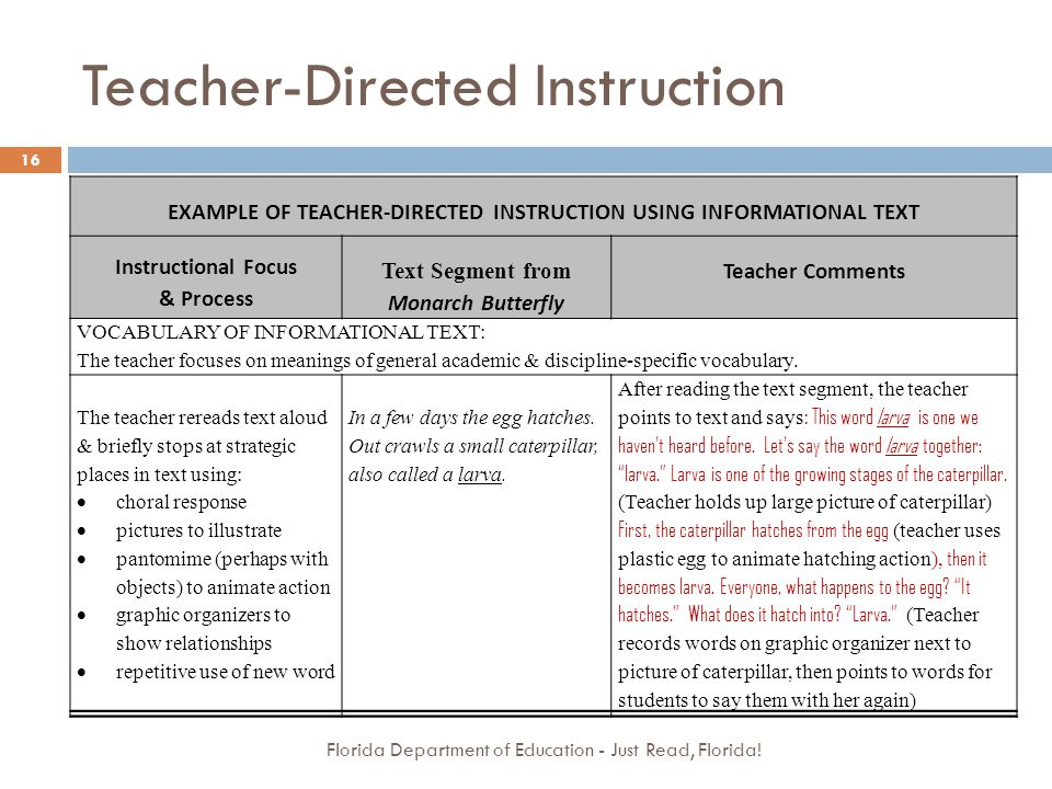 Teacher-Directed Instruction Florida Department of Education - Just Read, Florida! 16 EXAMPLE OF TEACHER-DIRECTED INSTRUCTION USING INFORMATIONAL TEXT