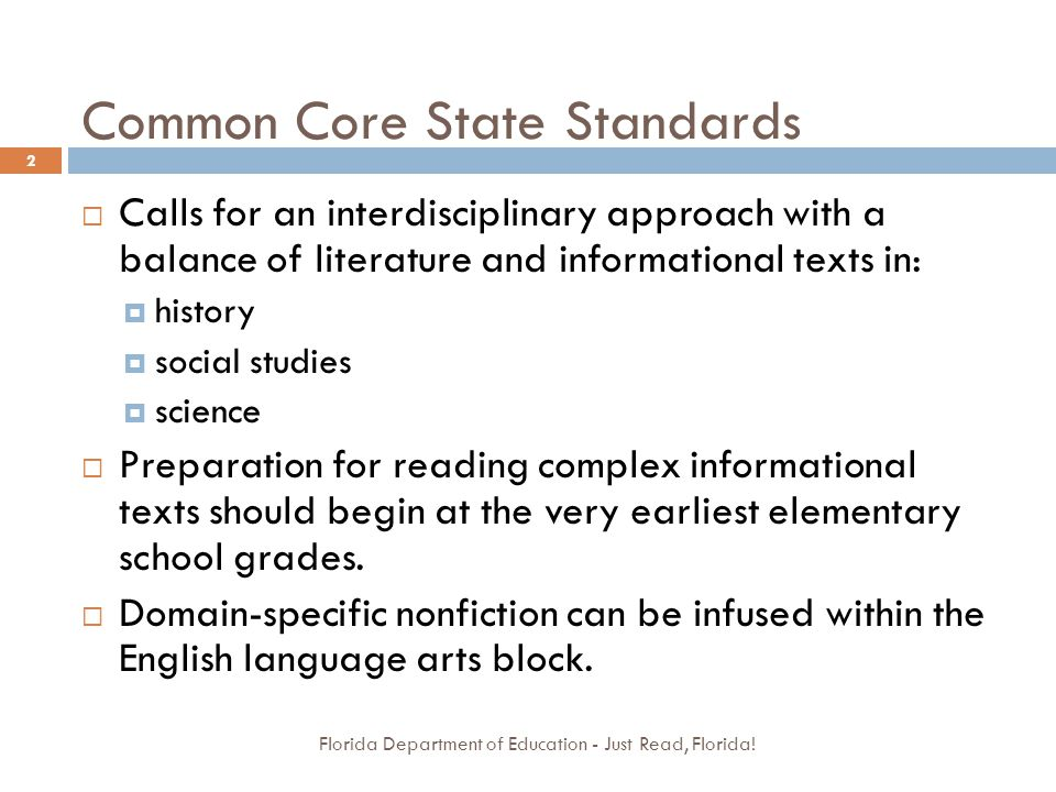Common Core State Standards Florida Department of Education - Just Read, Florida.