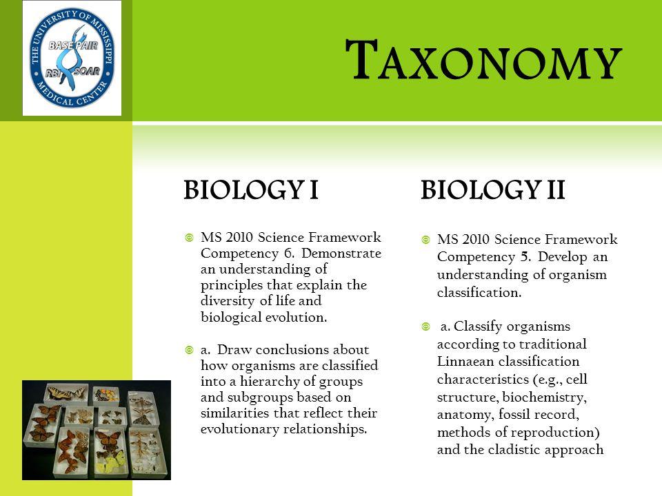 T AXONOMY BIOLOGY I  MS 2010 Science Framework Competency 6.