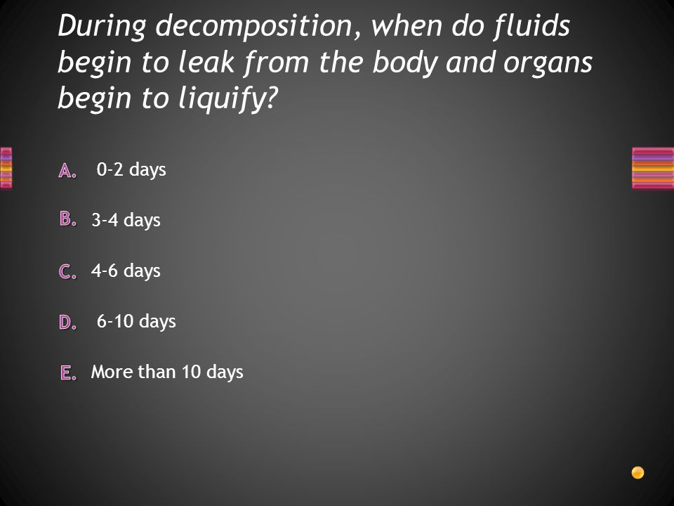 During decomposition, when do fluids begin to leak from the body and organs begin to liquify? More than 10 days 0-2 days 4-6 days 3-4 days 6-10 days