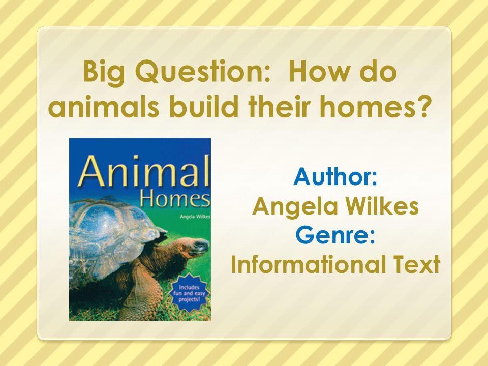 Big Question: How do animals build their homes? Author: Angela Wilkes Genre: Informational Text