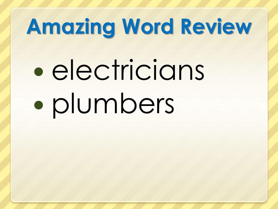 Amazing Word Review electricians plumbers