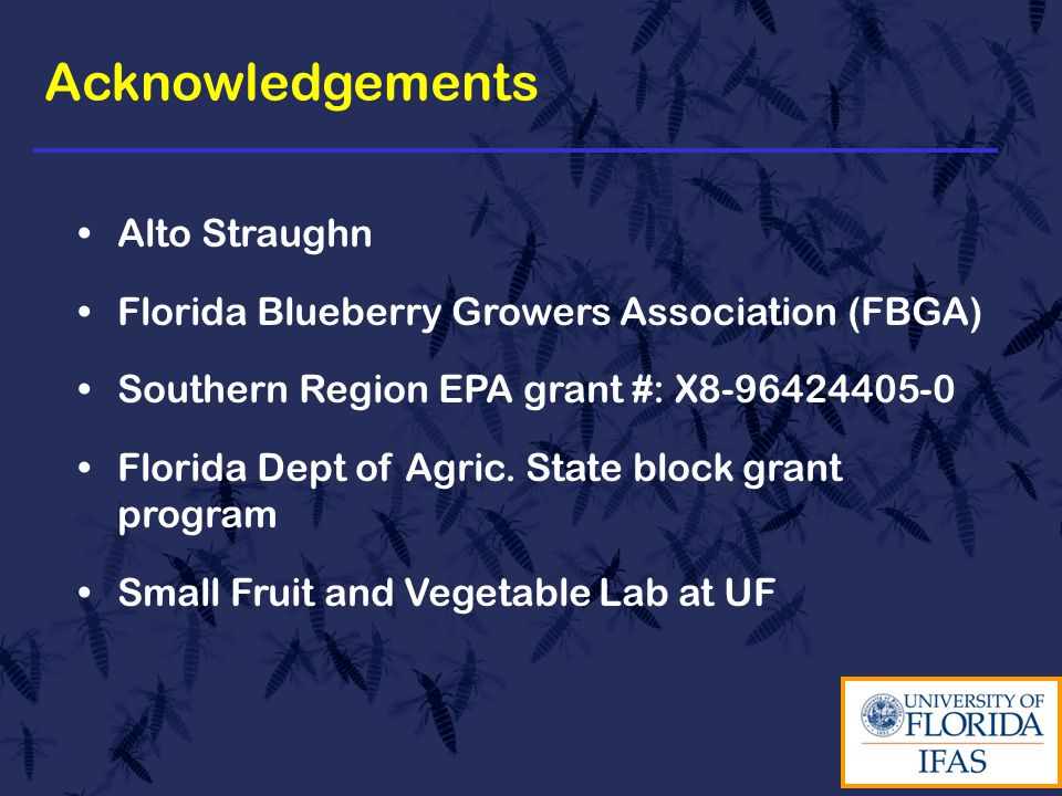 Acknowledgements Alto Straughn Florida Blueberry Growers Association (FBGA) Southern Region EPA grant #: X8-96424405-0 Florida Dept of Agric.