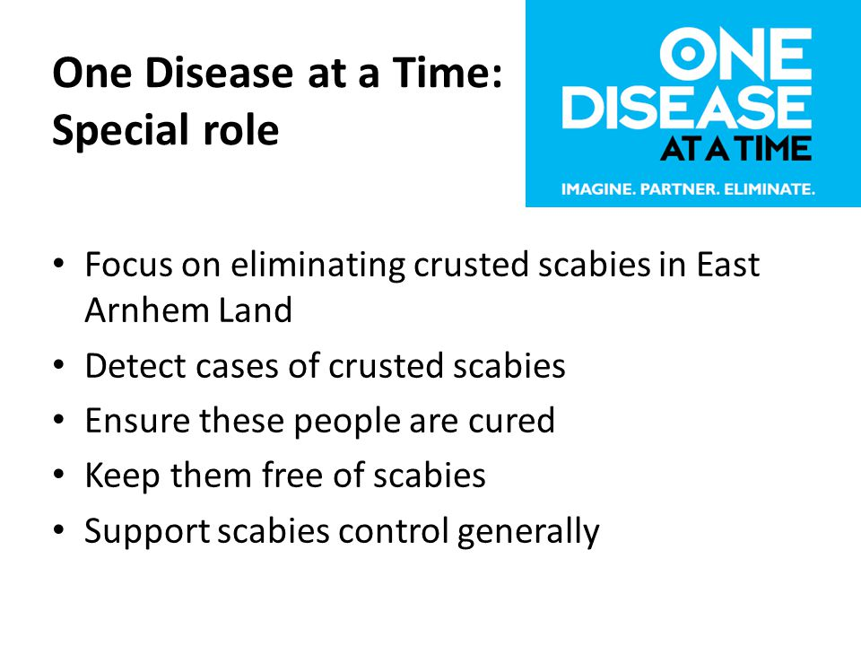 One Disease at a Time: Special role Focus on eliminating crusted scabies in East Arnhem Land Detect cases of crusted scabies Ensure these people are cured Keep them free of scabies Support scabies control generally