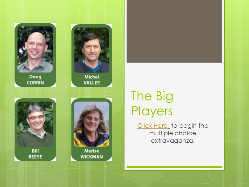 The Big Players Click HereClick Here to begin the multiple choice extravaganza.