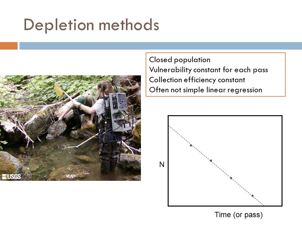 Depletion methods * * * * N Time (or pass) Closed population Vulnerability constant for each pass Collection efficiency constant Often not simple line