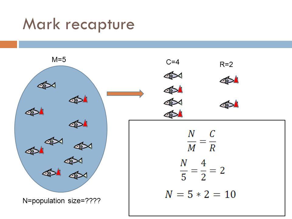Mark recapture M=5 C=4 R=2 N=population size=????