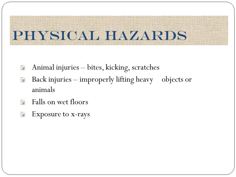 Animal injuries – bites, kicking, scratches Back injuries – improperly lifting heavy objects or animals Falls on wet floors Exposure to x-rays Physica