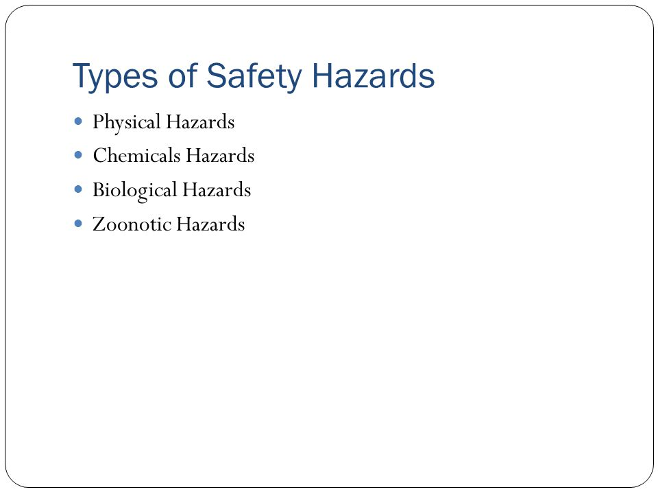 Types of Safety Hazards Physical Hazards Chemicals Hazards Biological Hazards Zoonotic Hazards