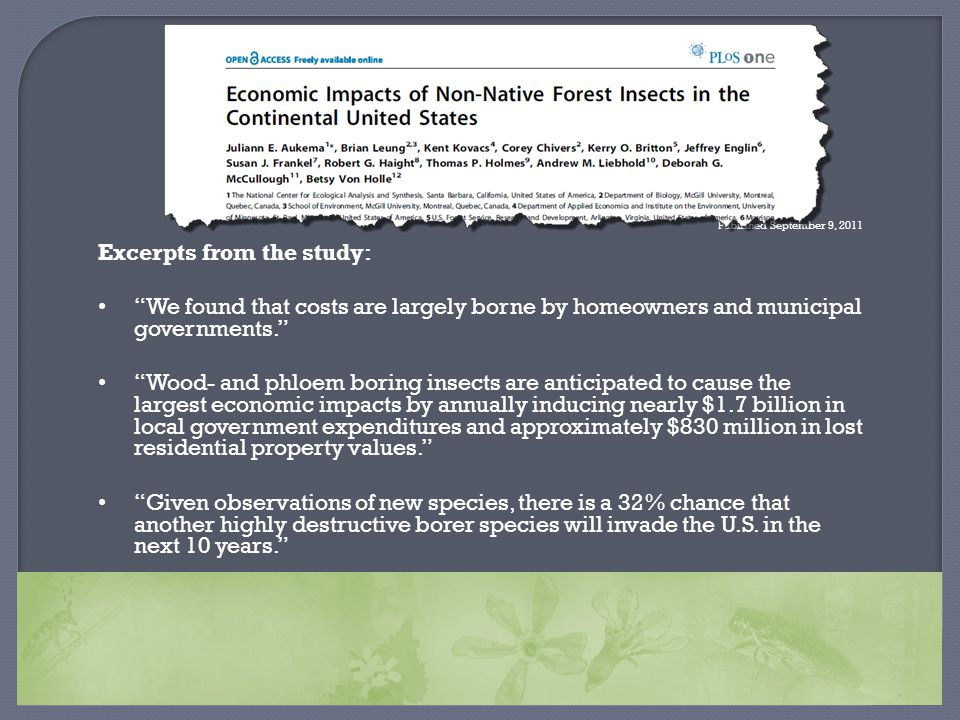 "Published September 9, 2011 Excerpts from the study: ""We found that costs are largely borne by homeowners and municipal governments."" ""Wood- and phloe"