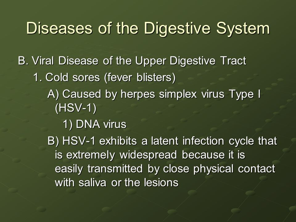 Diseases of the Digestive System B.Viral Disease of the Upper Digestive Tract 1.