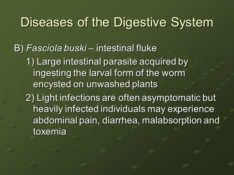 Diseases of the Digestive System B) Fasciola buski – intestinal fluke 1) Large intestinal parasite acquired by ingesting the larval form of the worm encysted on unwashed plants 2) Light infections are often asymptomatic but heavily infected individuals may experience abdominal pain, diarrhea, malabsorption and toxemia