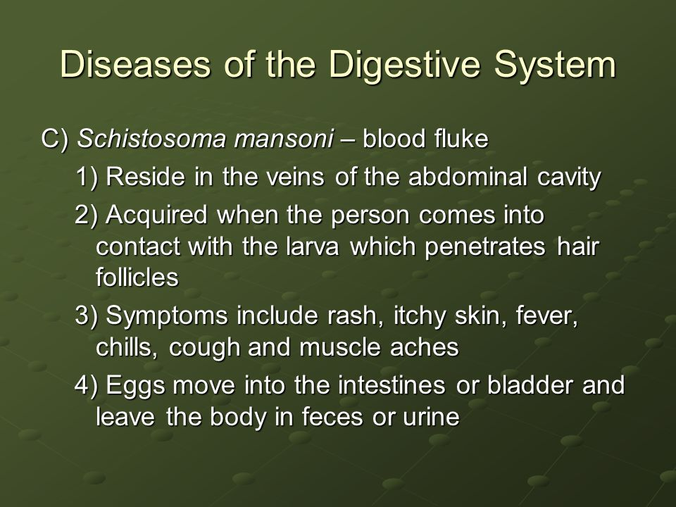 Diseases of the Digestive System C) Schistosoma mansoni – blood fluke 1) Reside in the veins of the abdominal cavity 2) Acquired when the person comes into contact with the larva which penetrates hair follicles 3) Symptoms include rash, itchy skin, fever, chills, cough and muscle aches 4) Eggs move into the intestines or bladder and leave the body in feces or urine