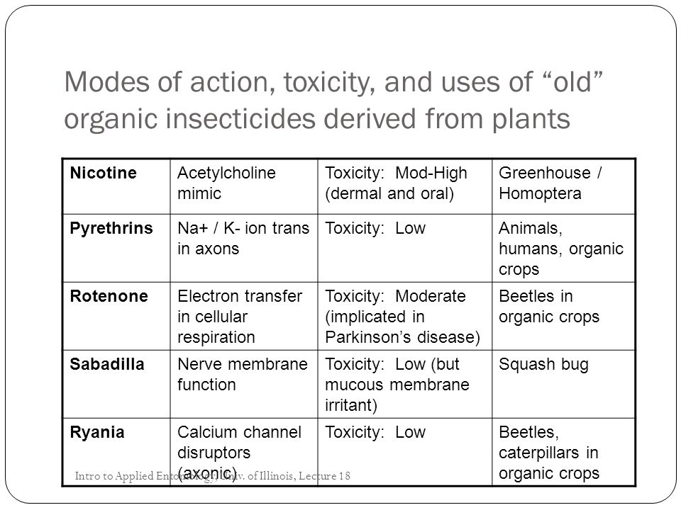 """Modes of action, toxicity, and uses of """"old"""" organic insecticides derived from plants NicotineAcetylcholine mimic Toxicity: Mod-High (dermal and oral)"""