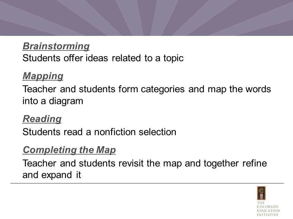Brainstorming Students offer ideas related to a topic Mapping Teacher and students form categories and map the words into a diagram Reading Students read a nonfiction selection Completing the Map Teacher and students revisit the map and together refine and expand it