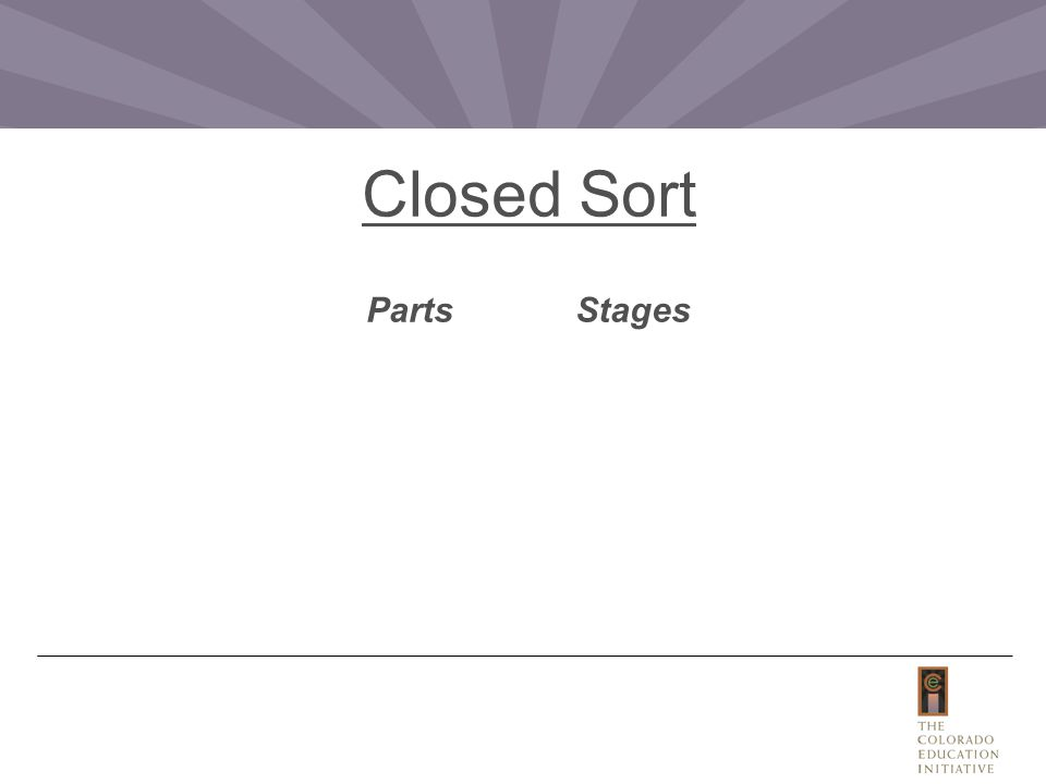 Closed Sort PartsStages