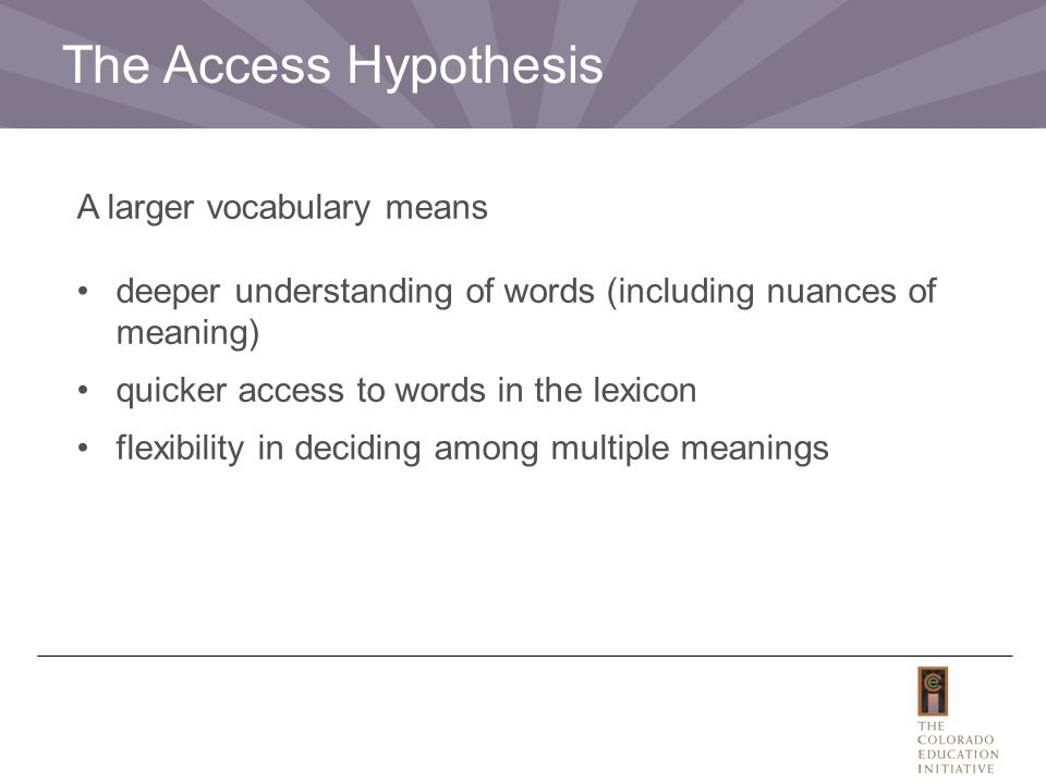 The Access Hypothesis A larger vocabulary means deeper understanding of words (including nuances of meaning) quicker access to words in the lexicon fl