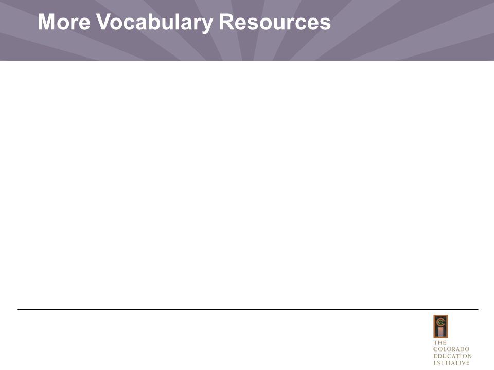 More Vocabulary Resources