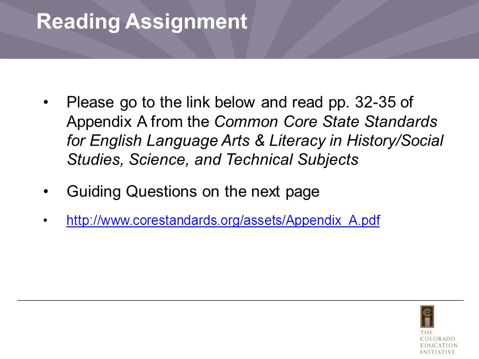 Reading Assignment Please go to the link below and read pp.