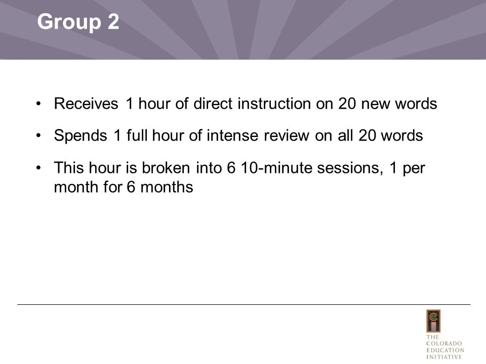 Group 2 Receives 1 hour of direct instruction on 20 new words Spends 1 full hour of intense review on all 20 words This hour is broken into 6 10-minute sessions, 1 per month for 6 months