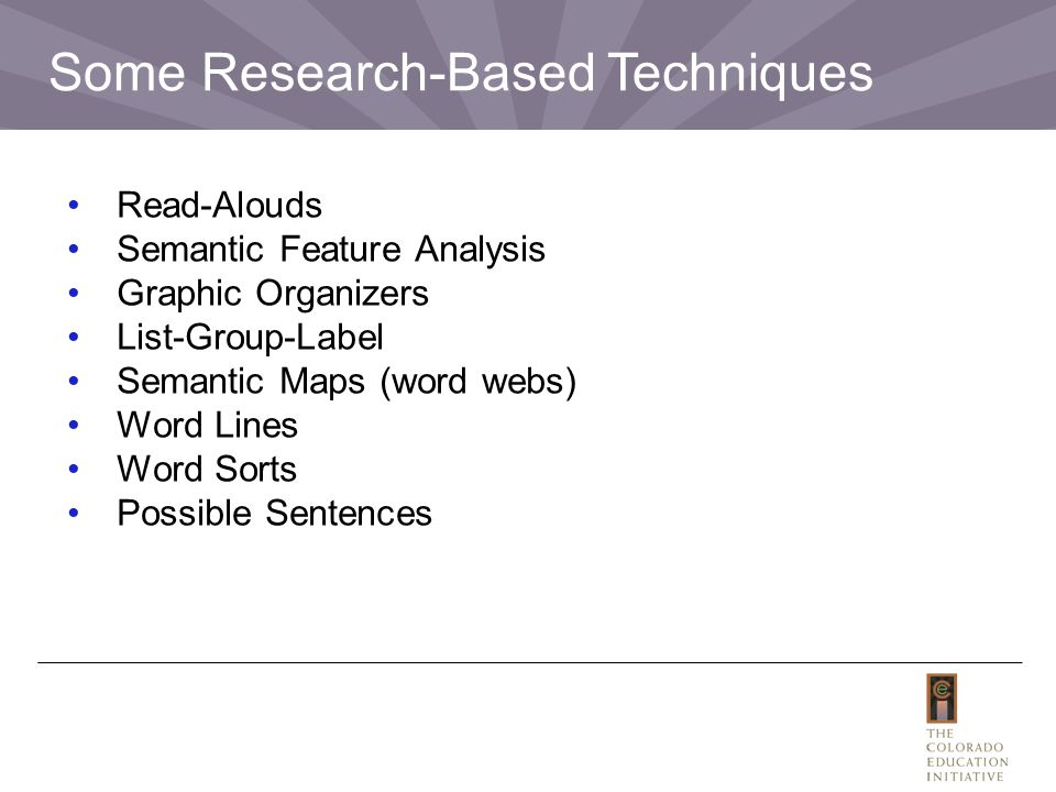 Some Research-Based Techniques Read-Alouds Semantic Feature Analysis Graphic Organizers List-Group-Label Semantic Maps (word webs) Word Lines Word Sorts Possible Sentences