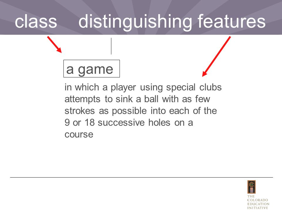 in which a player using special clubs attempts to sink a ball with as few strokes as possible into each of the 9 or 18 successive holes on a course a game class distinguishing features