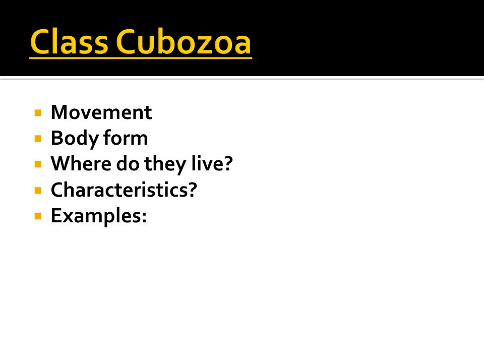  Movement  Body form  Where do they live?  Characteristics?  Examples: