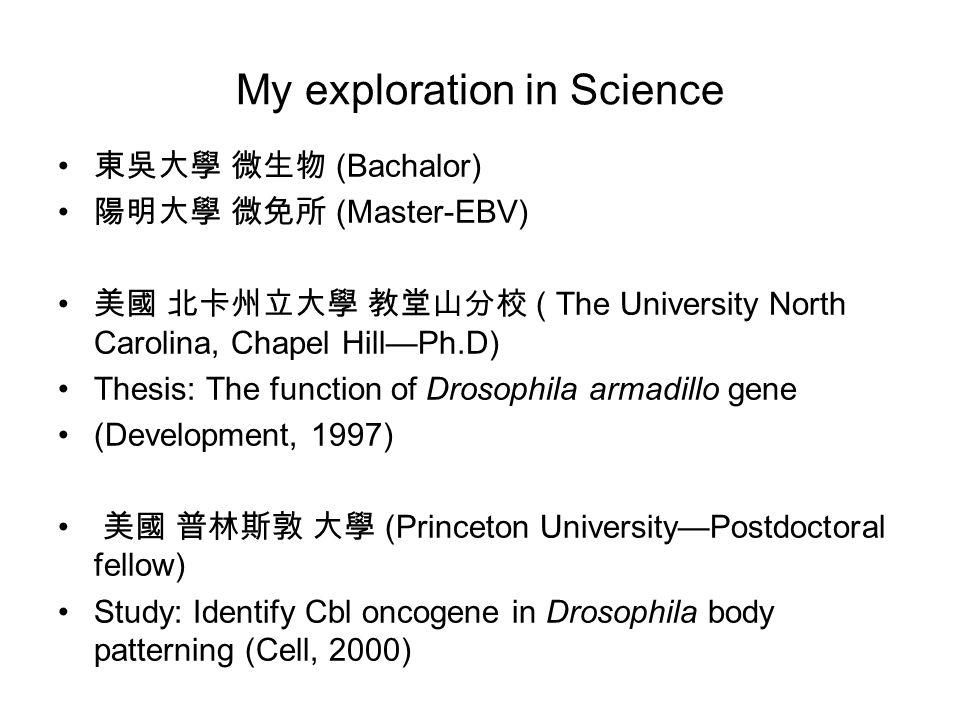 My exploration in Science 東吳大學 微生物 (Bachalor) 陽明大學 微免所 (Master-EBV) 美國 北卡州立大學 教堂山分校 ( The University North Carolina, Chapel Hill—Ph.D) Thesis: The fun