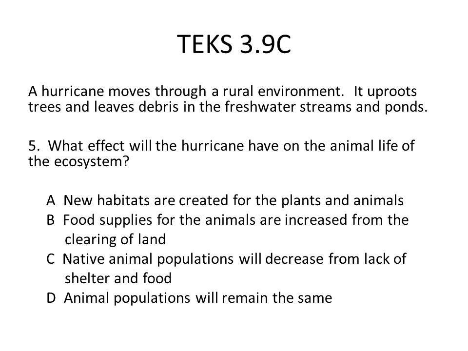 TEKS 3.9C A hurricane moves through a rural environment.