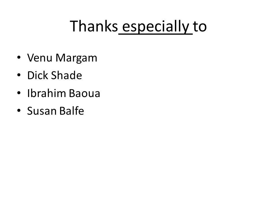 Thanks especially to Venu Margam Dick Shade Ibrahim Baoua Susan Balfe