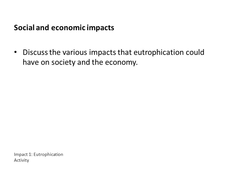 Social and economic impacts Discuss the various impacts that eutrophication could have on society and the economy.
