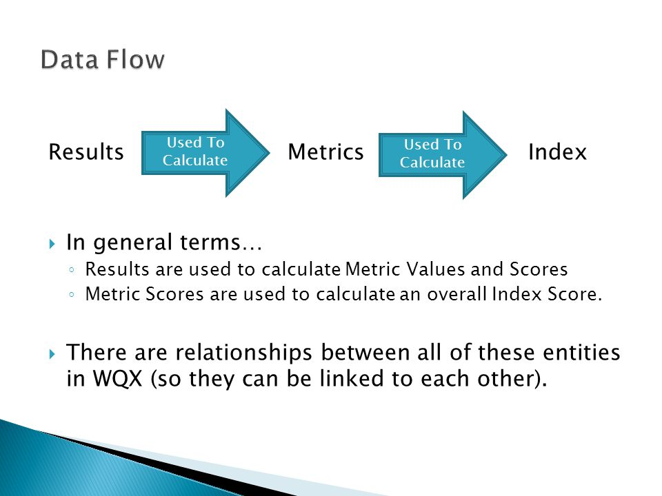 Results Metrics Index  In general terms… ◦ Results are used to calculate Metric Values and Scores ◦ Metric Scores are used to calculate an overall Index Score.