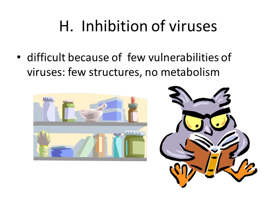 H. Inhibition of viruses difficult because of few vulnerabilities of viruses: few structures, no metabolism
