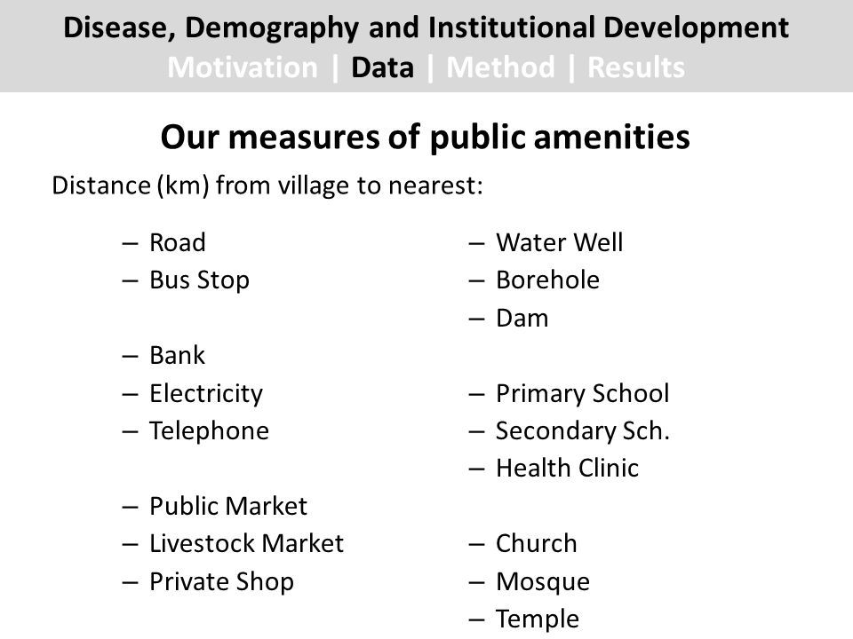 Our measures of public amenities – Road – Bus Stop – Bank – Electricity – Telephone – Public Market – Livestock Market – Private Shop – Water Well – Borehole – Dam – Primary School – Secondary Sch.