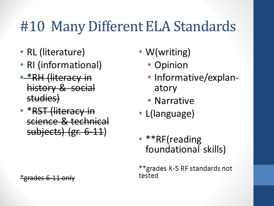 #10 Many Different ELA Standards RL (literature) RI (informational) *RH (literacy in history & social studies) *RST (literacy in science & technical s