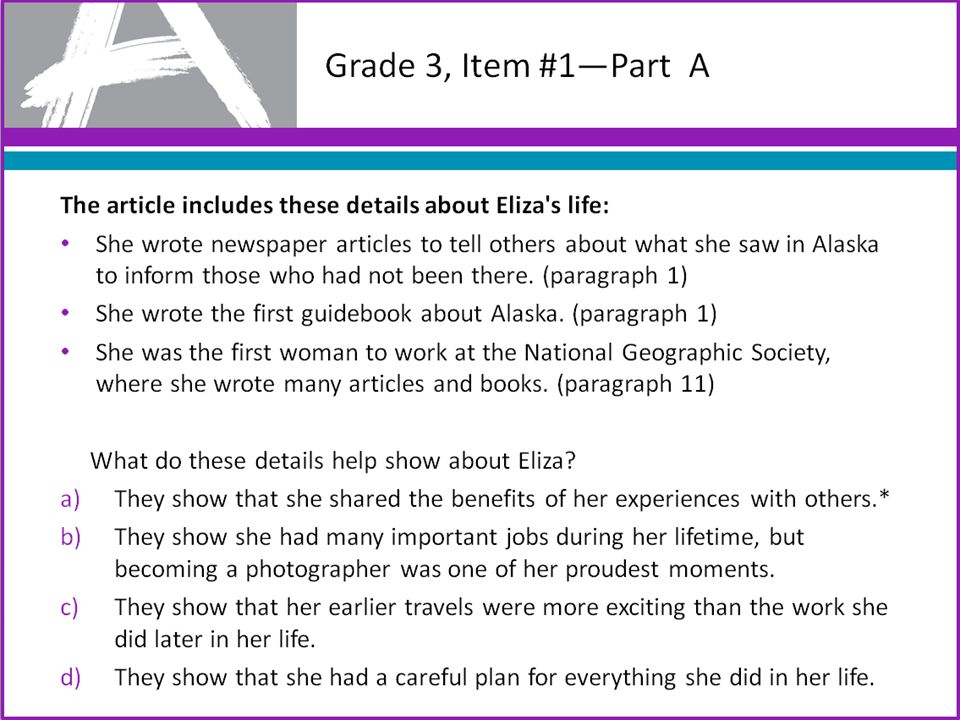 Grade 3, Item #1—Part A The article includes these details about life: She wrote newspaper articles to tell others about what she saw in Alaska to inform those who had not been there.